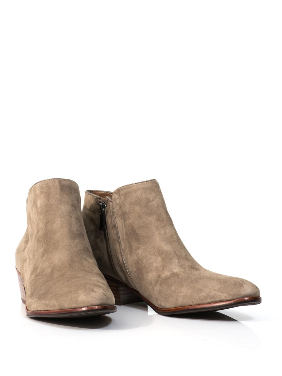 sam edelman petty suede ankle boots in beige neutral lyst. Black Bedroom Furniture Sets. Home Design Ideas