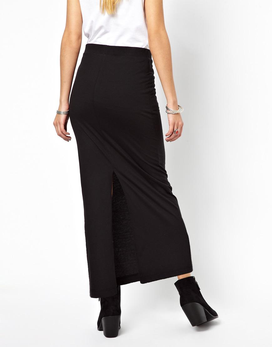 5e9704920e ASOS Vero Moda Jersey Maxi Skirt in Black - Lyst