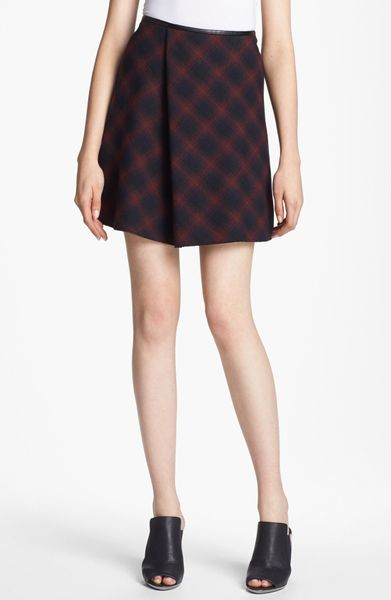 3.1 Phillip Lim Flared Plaid Skirt in Red (Navy Multi) - Lyst