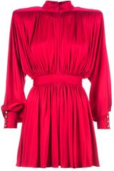 Balmain Pleated Loose Fit Dress - Lyst