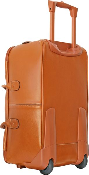 Bric 39 s life leather large rolling duffle bag in brown lyst for Leather luggage wheeled duffel