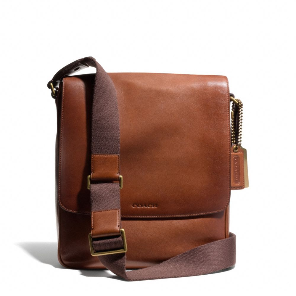 lyst coach bleecker map bag in leather in brown for men