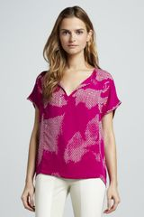 Halston Printed Short-sleeve Georgette Top - Lyst