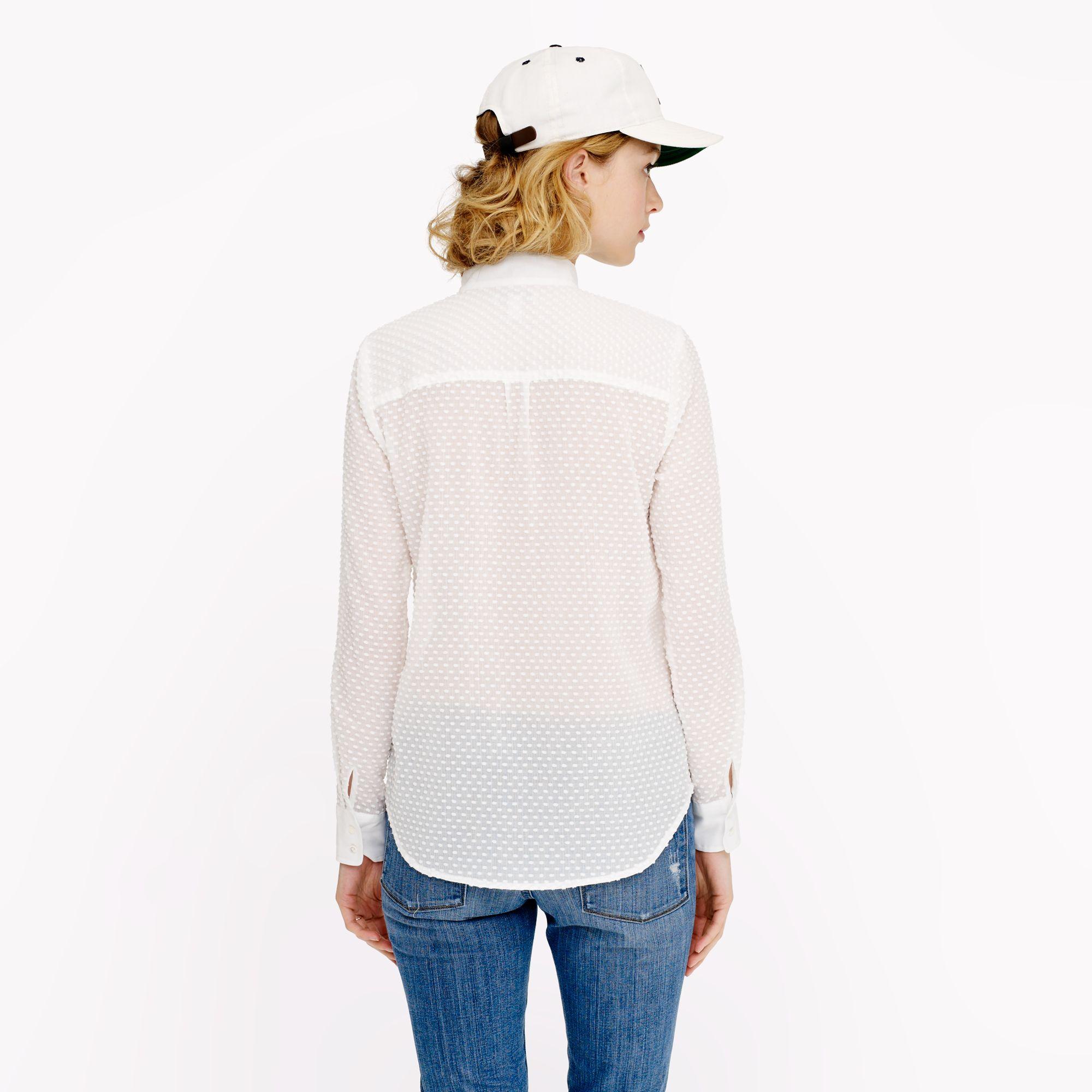 29073dbef786ec J.Crew Swiss Dot Tuxedo Shirt in White - Lyst