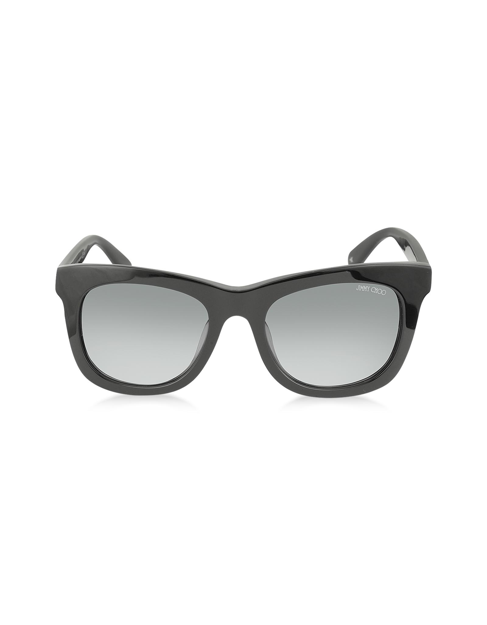 e6732b4c968 Jimmy Choo Sasha S 807Hd Black Square Frame Sunglasses With Silver ...