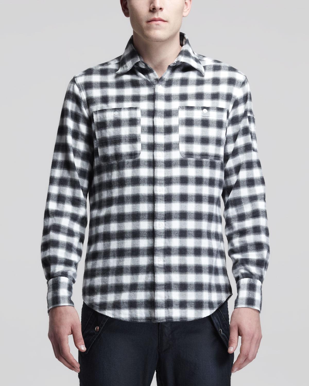 Michael Bastian Big Plaid Flannel Shirt Blackwhite In