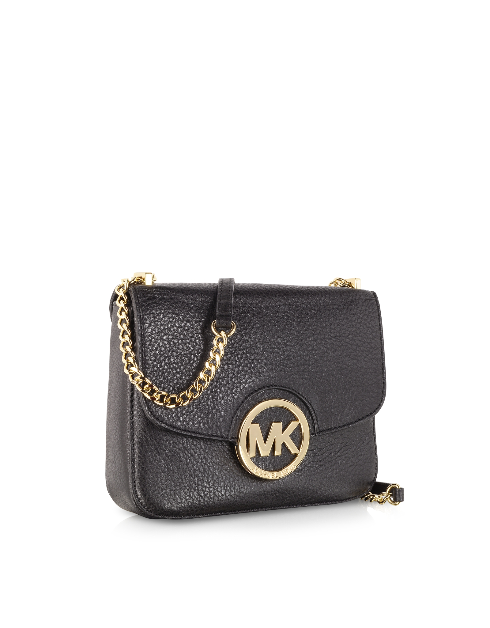 5c745c5720a9 Lyst - Michael Kors Fulton Mini Plebbed Leather Shoulder Bag in Black