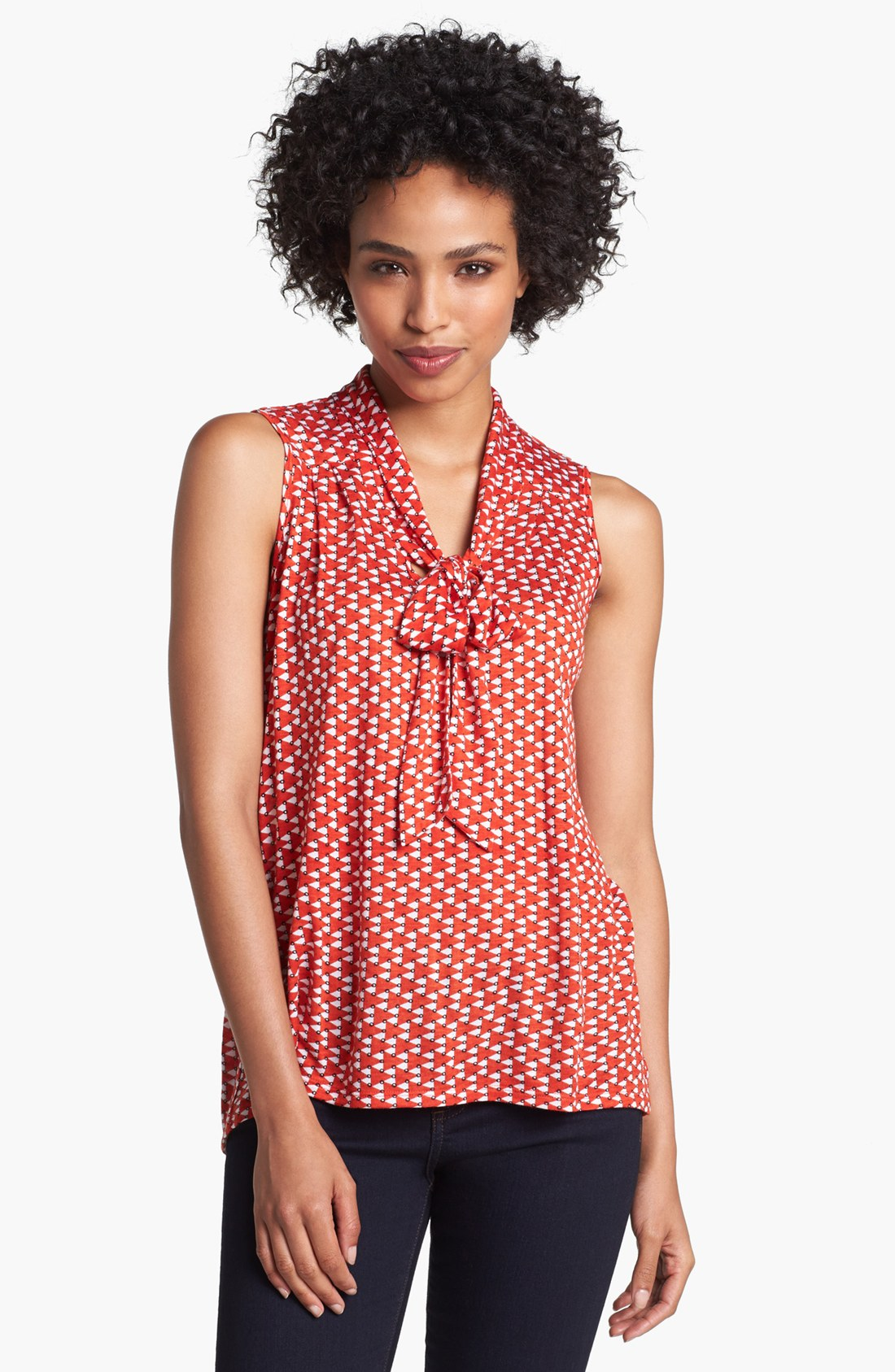 Olivia moon sleeveless tie neck knit shirt in pink orange for Dress shirts and tie combos sale