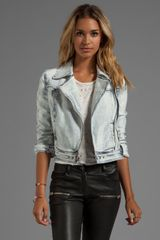 Paige Brooklyn Denim Moto Jacket in Blue - Lyst
