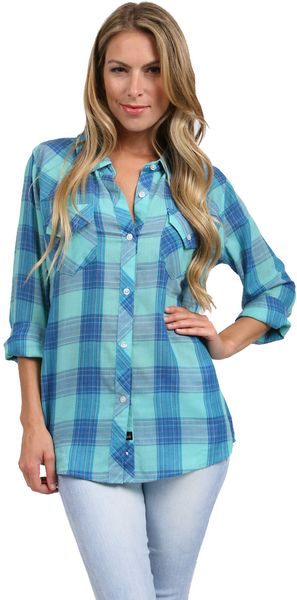 Rails taylor gauze button down shirt in blue mint blue for Gauze button down shirt