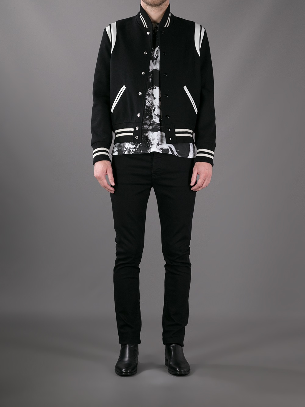 Saint Laurent Varsity Jacket In Black For Men Lyst