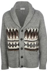 Saint Laurent Patterned Knit Cardigan - Lyst