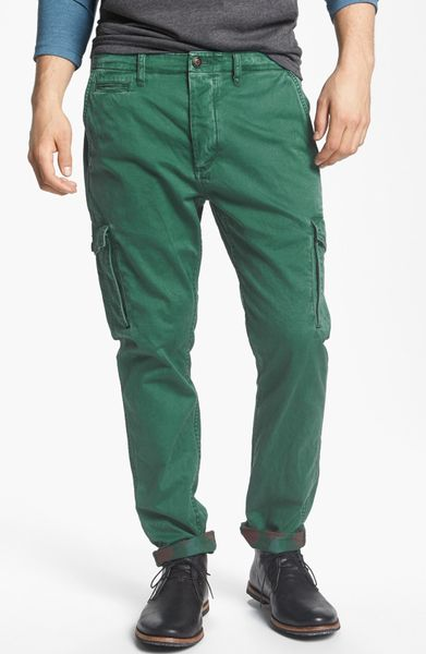 Scotch Amp Soda Slim Tapered Leg Twill Cargo Pants In Green