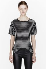 T By Alexander Wang Black Striped Stripe Knit Top - Lyst
