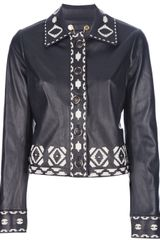 Tory Burch Embellished Leather Jacket - Lyst