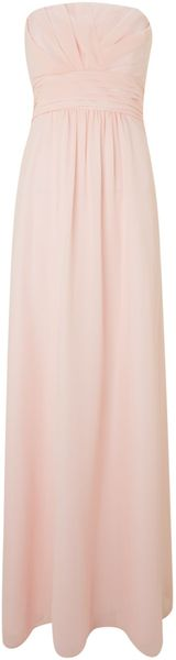 Ariella Ruched Bodice Strapless Long Dress - Lyst