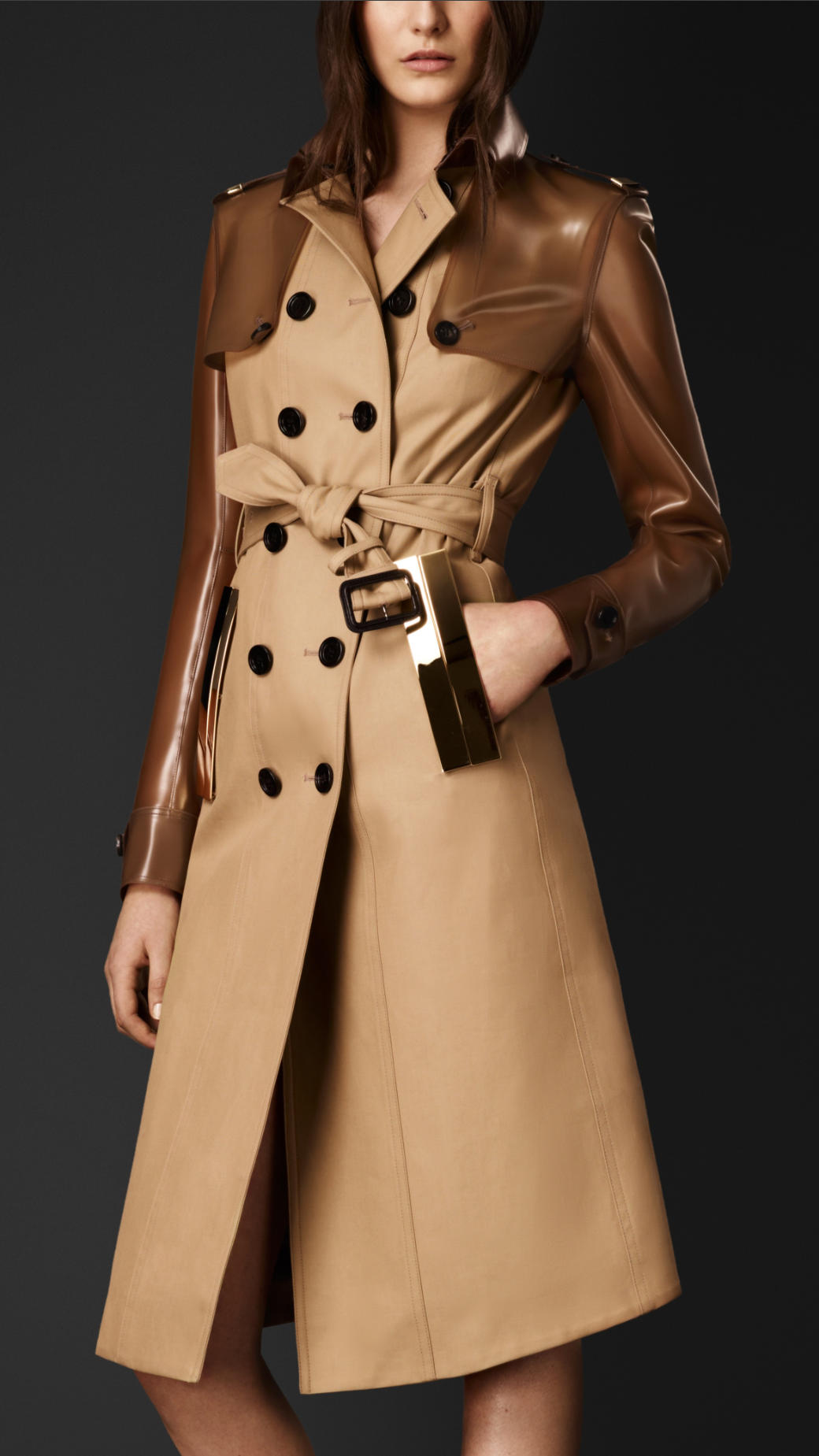 Lyst Burberry Rubber Gabardine Trench Coat In Brown