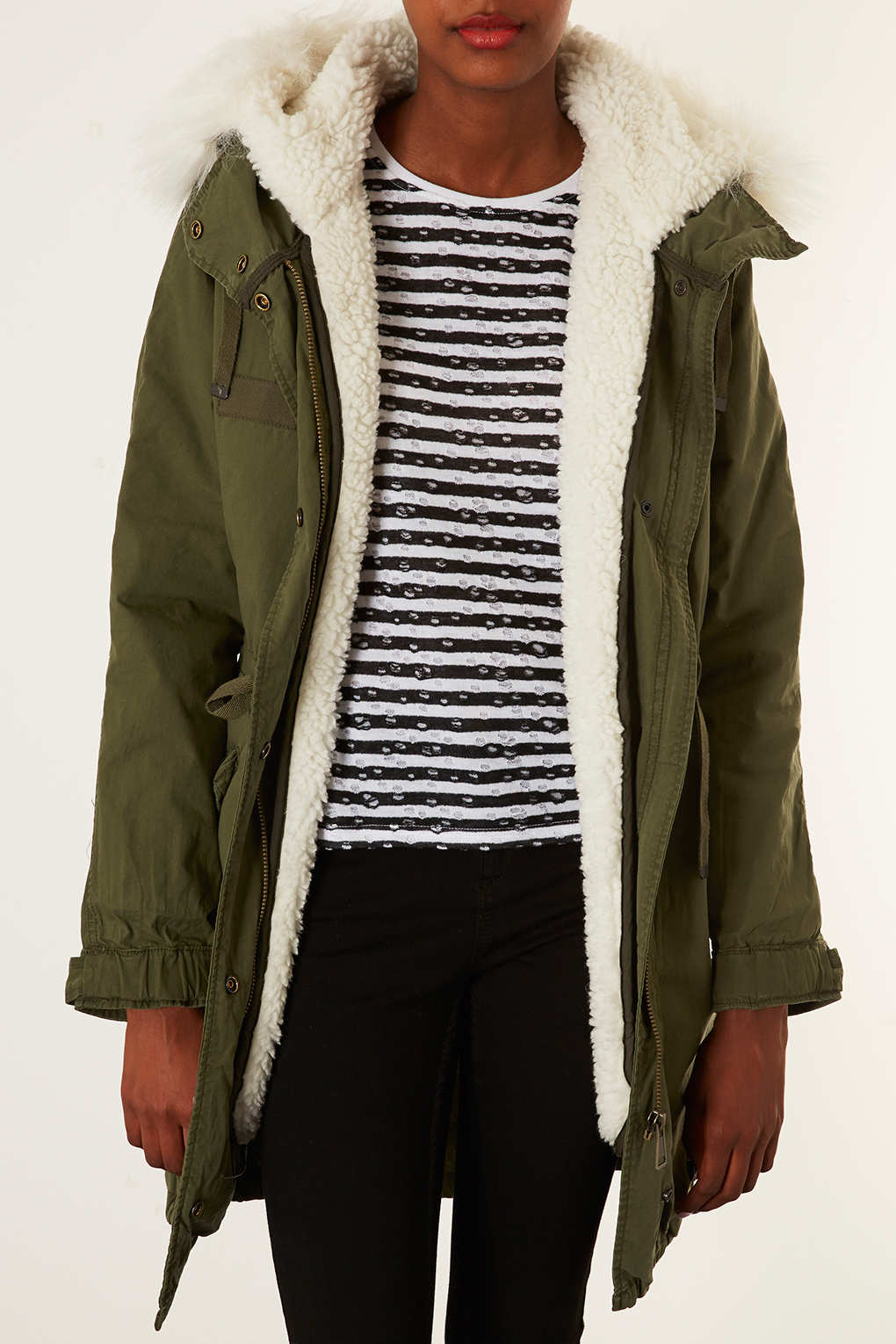 Topshop Borg Lined Parka Jacket In Natural Lyst