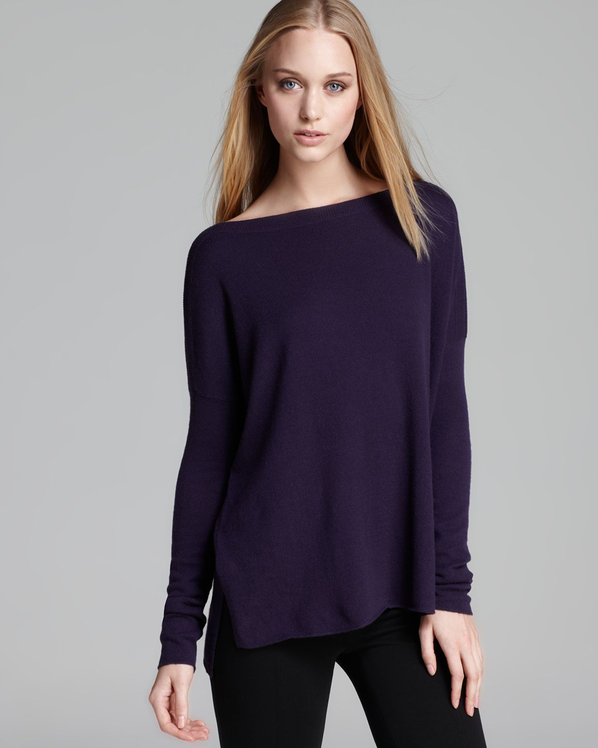 Vince Tunic Sweater Ribbed Shoulder Cashmere in Purple | Lyst
