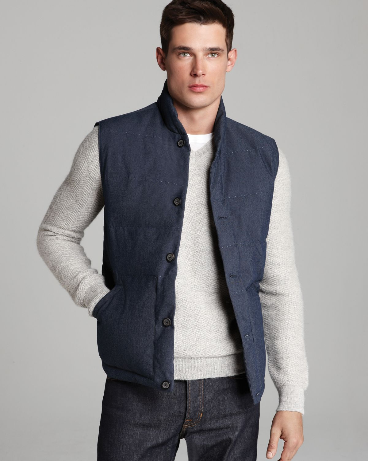 Lyst Vince Quilted Down Puffer Vest In Blue For Men