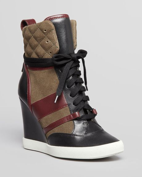 chlo lace up high top wedge sneakers kasia in black black bordeaux olive lyst. Black Bedroom Furniture Sets. Home Design Ideas