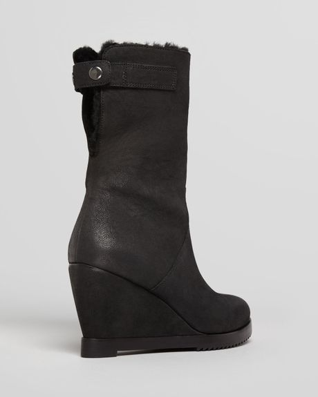 eileen fisher cold weather wedge boots glad shearling in