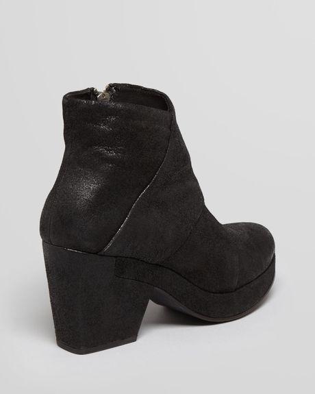 Eileen Fisher Platform Booties Coax in Black (Black Crackled