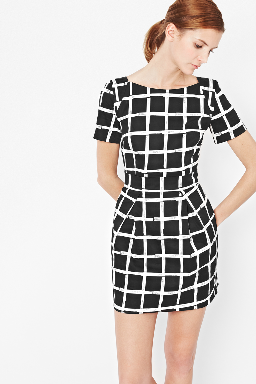 Lyst french connection paintcheck richie dress in black for French connection shirt dress
