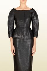 Gucci Black Shiny Leather Jacket - Lyst