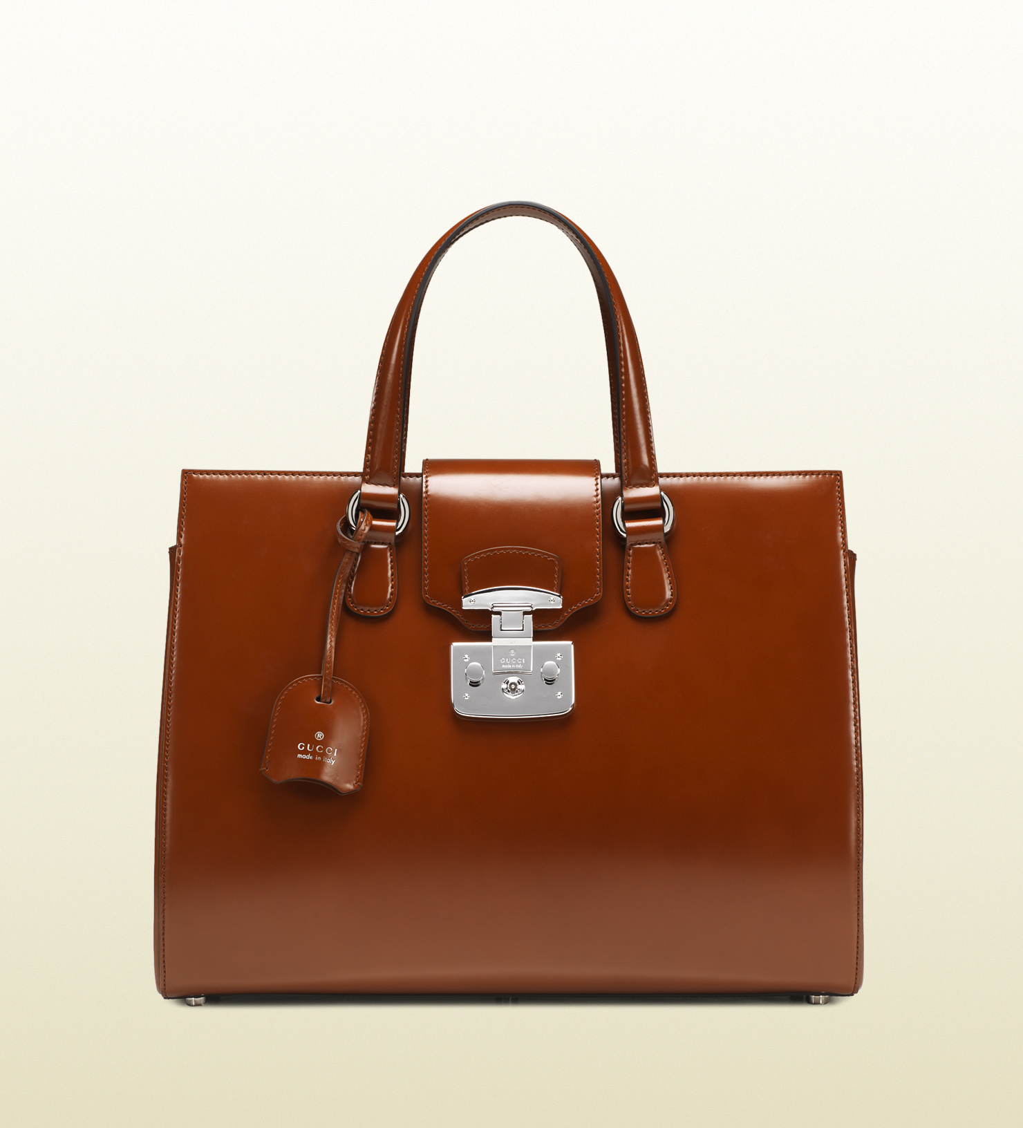 d136204884b Gucci Lady Lock Leather Tote in Brown - Lyst