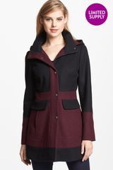Guess Two Tone Wool Blend Coat - Lyst