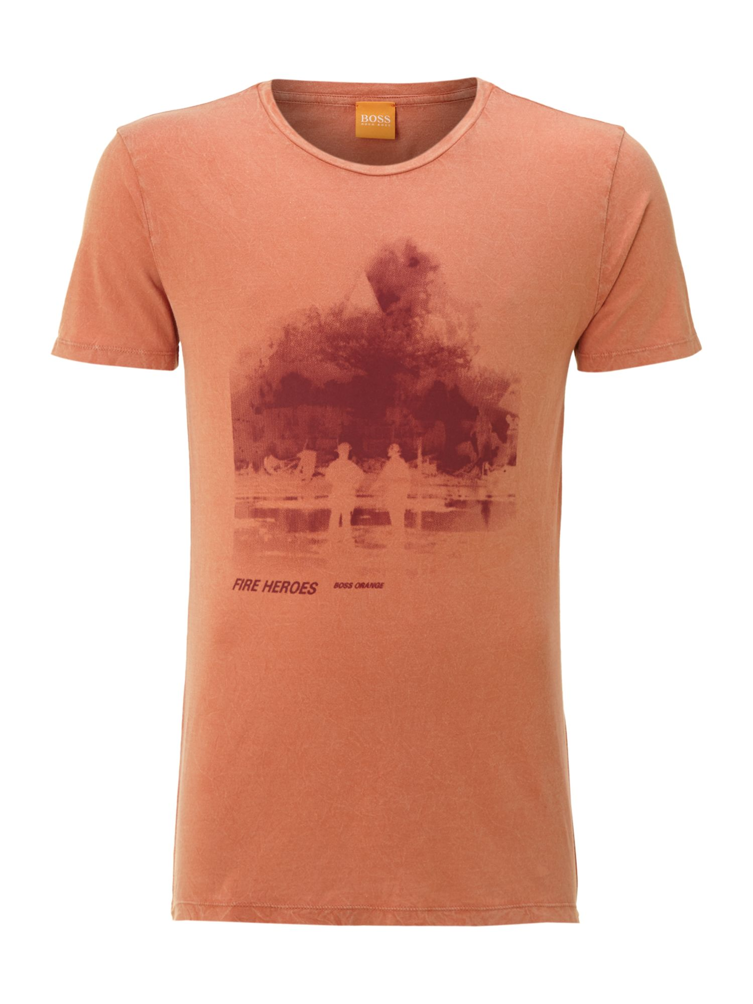 hugo boss fireman print tshirt in orange for men lyst. Black Bedroom Furniture Sets. Home Design Ideas