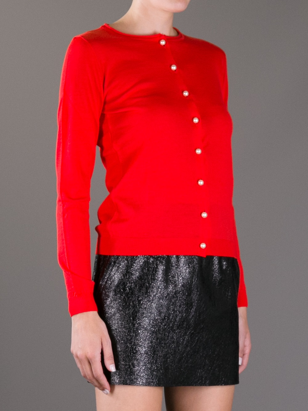 Boutique moschino Pearl Button Cardigan in Red | Lyst
