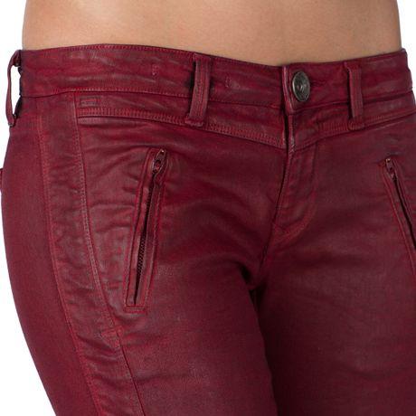 Tommy Hilfiger Sophie Coated Biker Jeans In Red Deep