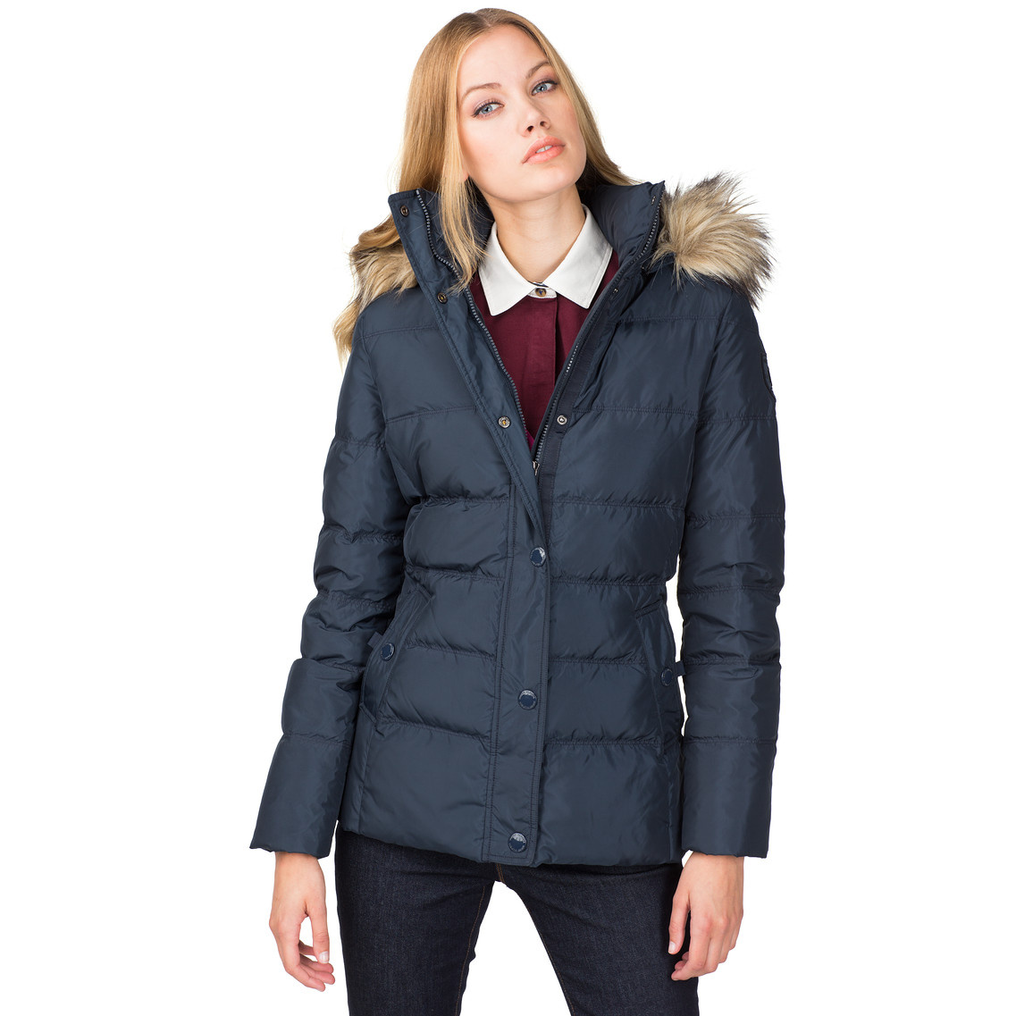 tommy hilfiger maine down filled jacket in blue midnight lyst. Black Bedroom Furniture Sets. Home Design Ideas