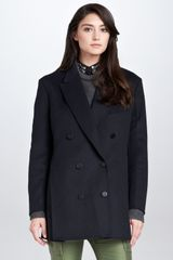 3.1 Phillip Lim Trompe Loeil Layered Peacoat Midnight - Lyst