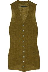 Alexander Wang Ribbed Fine Knit Sleeveless Cardigan - Lyst