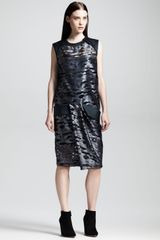 Alexander Wang Cocoon Back Metallic Muscle Dress Geyser - Lyst