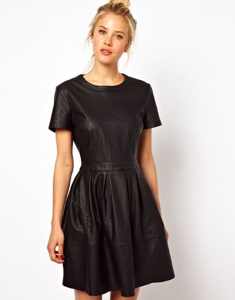Asos Asos Skater Dress in Leather Look - Lyst