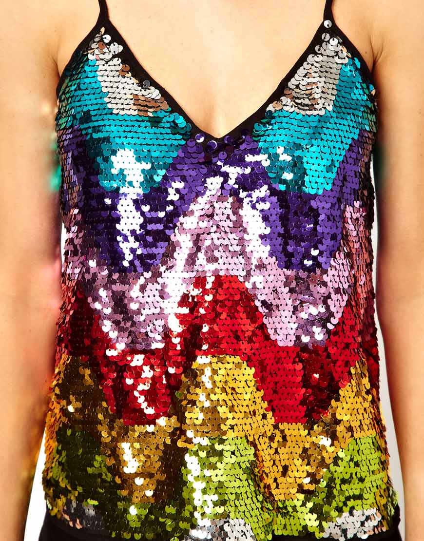 Asos Asos Cami In Sequin Rainbow Lyst