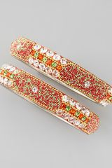 Chamak By Priya Kakkar Set Of 2 Beadfilled Crystal Bangles Orange - Lyst