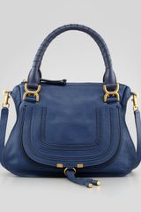 Chloé Marcie Medium Satchel Bag Navy - Lyst