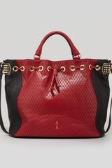 Christian Louboutin Dompteuse Twotone Quilted Bucket Bag Red - Lyst