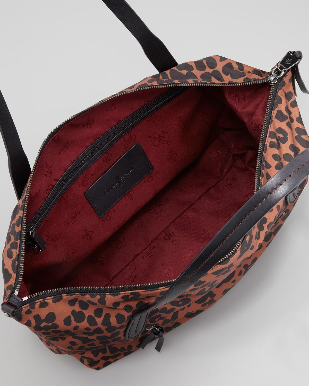 Cole haan Parker Nylon Ziptop Shopper Tote Bag Leopard Print | Lyst