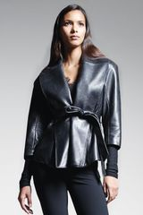 Donna Karan New York Belted Shawlcollar Leather Jacket Black - Lyst