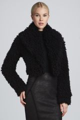 Donna Karan New York Shredded Fauxfur Bolero Jacket Black - Lyst