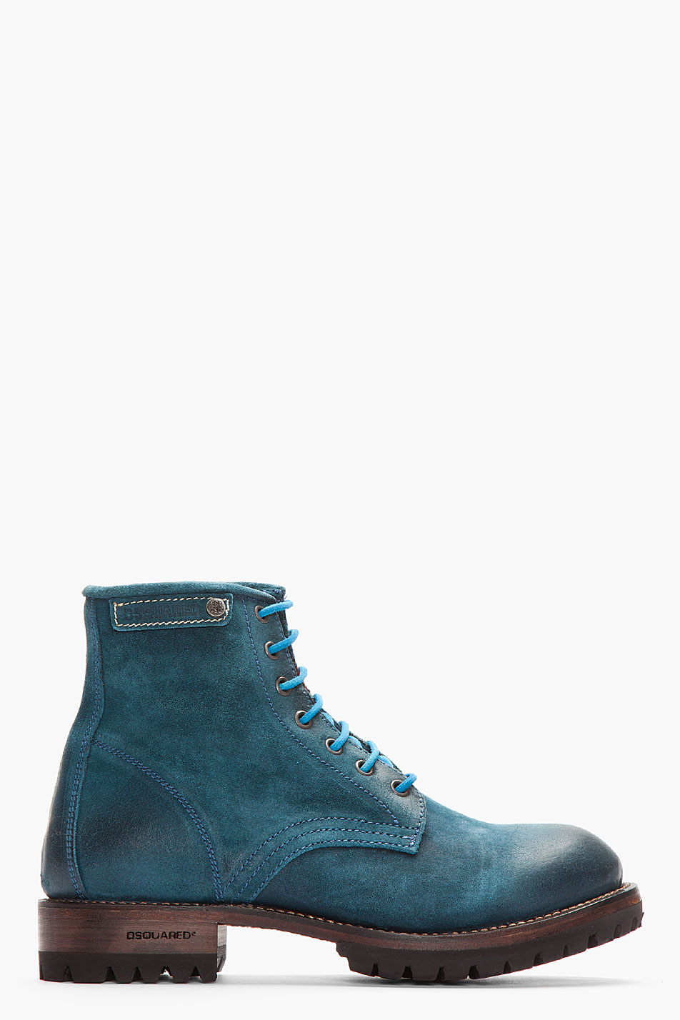 Lyst Dsquared 178 Teal Brushed Leather Hiking Boots In Blue