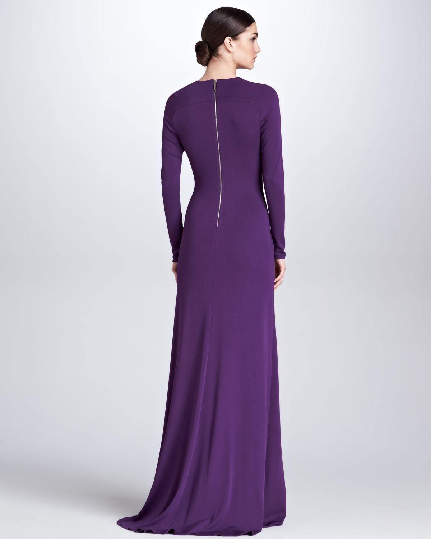 Lyst - Elie Saab Sheerinset Longsleeve Gown Royal Purple in Purple