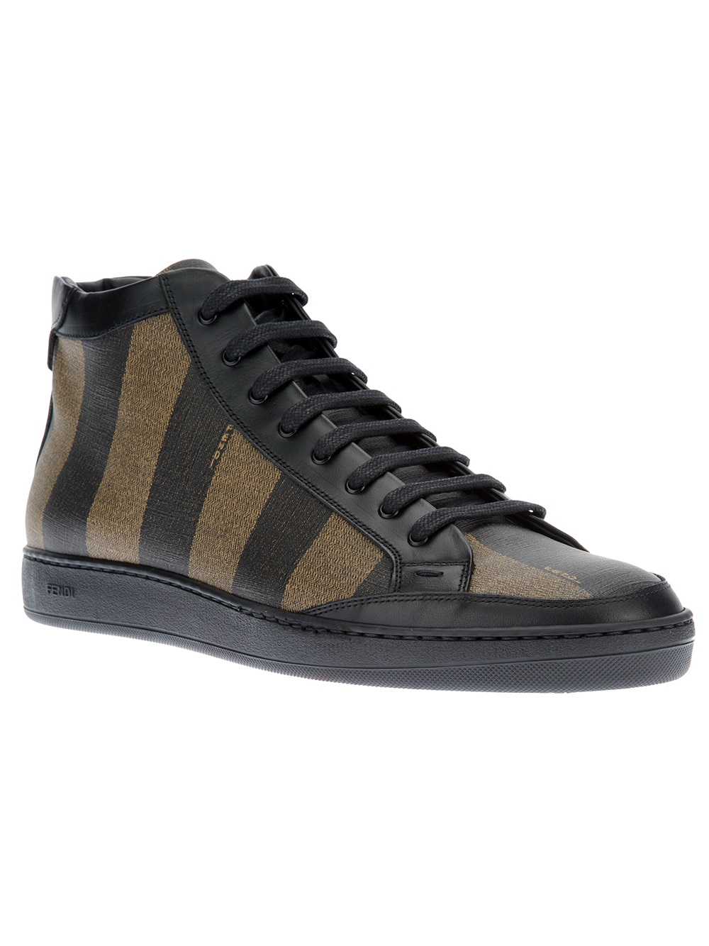 Lyst - Fendi Striped Laceup Sneaker in Black for Men