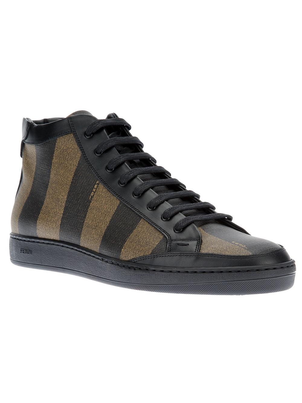 Fendi Striped Laceup Sneaker In Black For Men Tobacco Lyst